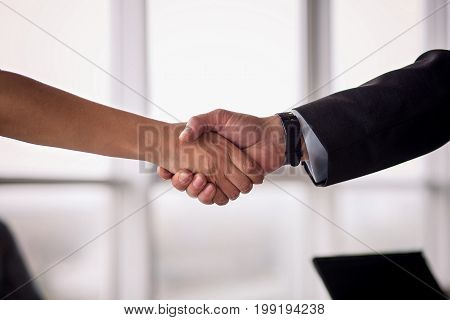 Businessman and businesswoman shake hands on agreement. Businees deal concept, partners concluding a deal.