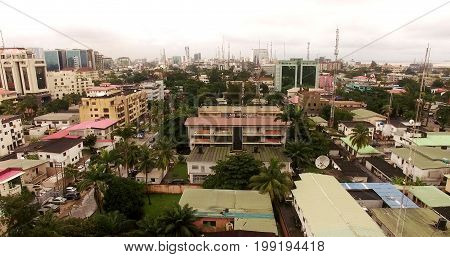 High Angle Aerial View Over Lagos, Nigeria