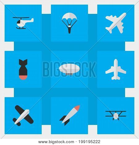 Elements Rocket, Airliner, Balloons And Other Synonyms Craft, Airplane And Aircraft.  Vector Illustration Set Of Simple Aircraft Icons.