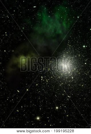 Far being shone nebula and star field against space. Elements of this image furnished by NASA . 3D rendering