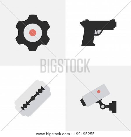 Elements Weapon, Supervision, Cogwheel And Other Synonyms Gun, Security And Cogwheel.  Vector Illustration Set Of Simple Criminal Icons.