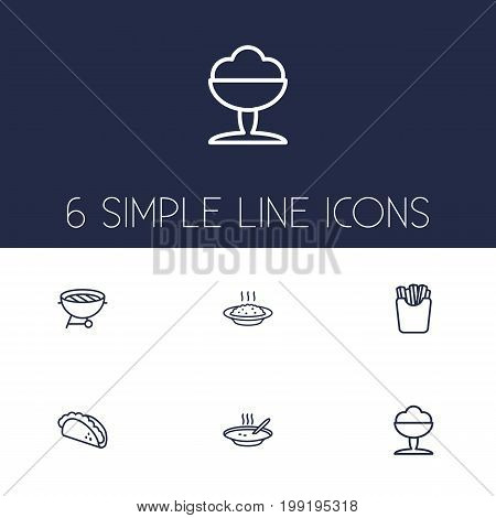 Collection Of Soup, Sorbet, Porridge And Other Elements.  Set Of 6 Dish Outline Icons Set.