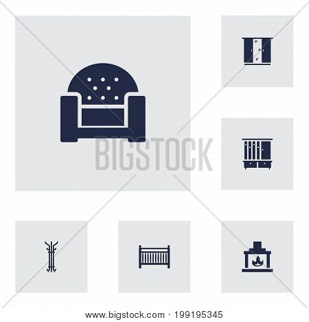 Collection Of Cot, Chimney, Sofa And Other Elements.  Set Of 6 Situation Icons Set.