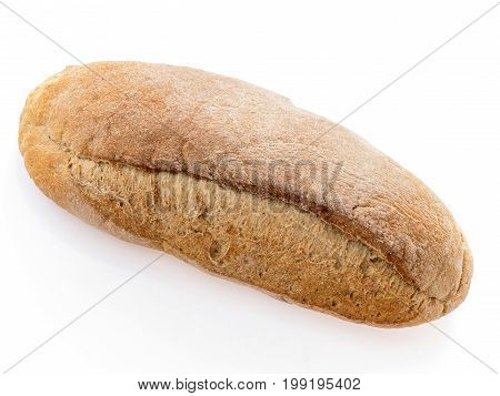 Crunchy loaf of fresh rye bread isolated on white. Close-up