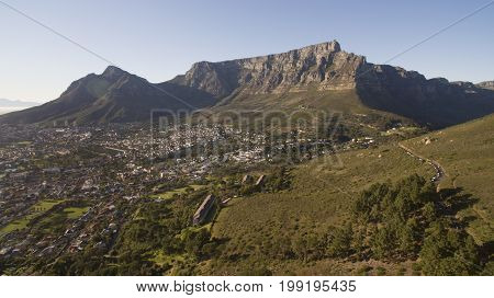 Aerial view of Table Mountian Cape Town South africa