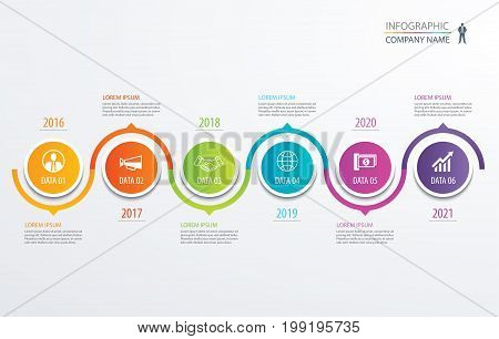 6 circle timeline infographic template business concept background. Vector can be used for workflow layout diagram number step up options web design annual report