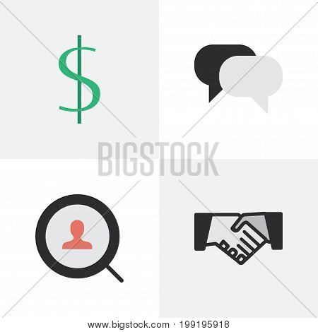 Elements Agreement, Dollar, Magnifier And Other Synonyms Greenback, Engine And Humans.  Vector Illustration Set Of Simple Business Icons.