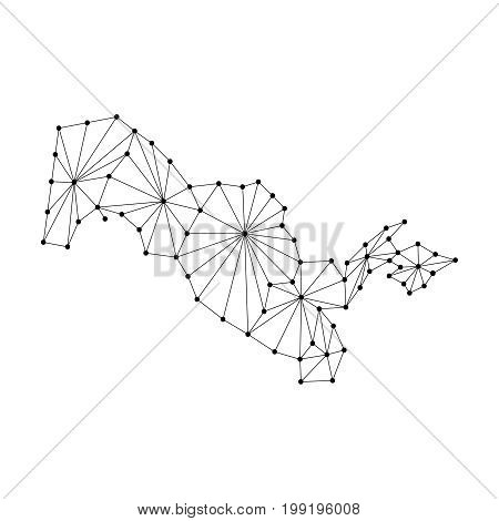 Uzbekistan map of polygonal mosaic lines network rays and dots vector illustration.