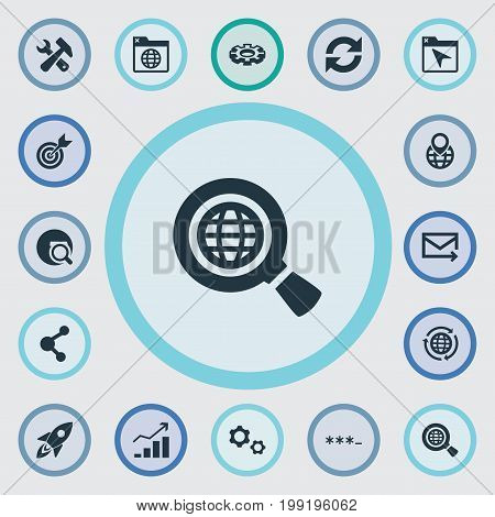 Elements Missile, Construction, Seek And Other Synonyms Cursor, Earth And Connection.  Vector Illustration Set Of Simple SEO Icons.