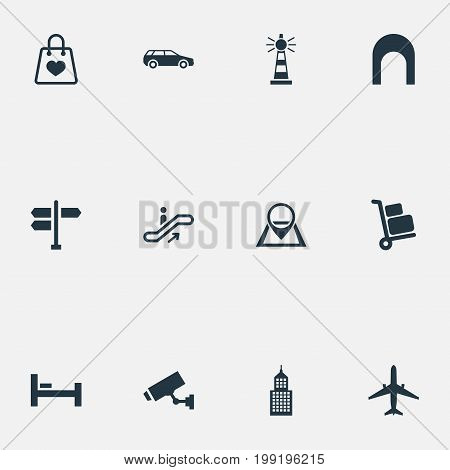 Elements Supervision, Pin, Bag And Other Synonyms Direction, Bedstead And Skyscraper.  Vector Illustration Set Of Simple Infrastructure Icons.