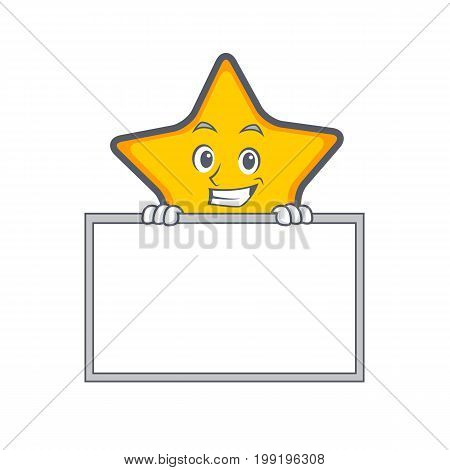 Grinning star character cartoon style with board vector illustration