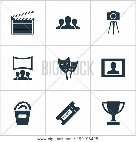 Elements Snack, Pass, Trophy And Other Synonyms Board, Performance And Montage.  Vector Illustration Set Of Simple Cinema Icons.