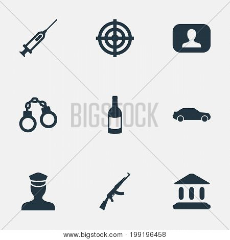Elements Judicial House, Lock, Sharpshooter And Other Synonyms Inoculation, Gun And Circular.  Vector Illustration Set Of Simple Offense Icons.