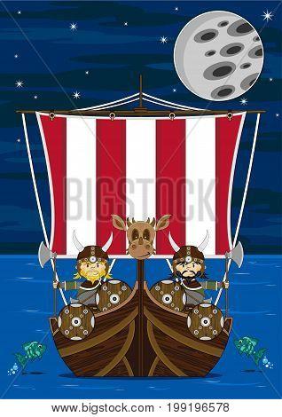 Cute Cartoon Norse Viking Warrior and Longboat