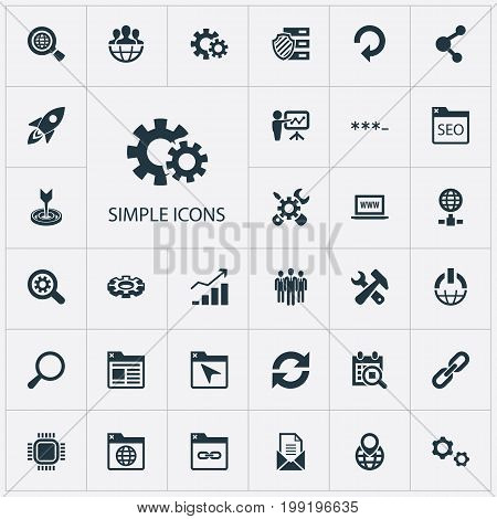 Elements Detail, Password, Navigation And Other Synonyms Seek, Mail And Group.  Vector Illustration Set Of Simple Search Icons.