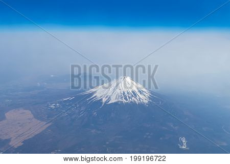 Aerial view of Mt. Fuji in Shizuoka, Japan. Mt. Fuji is the highest mountain in Japan. It was added to the World Heritage List as a Cultural Site in June, 2013.