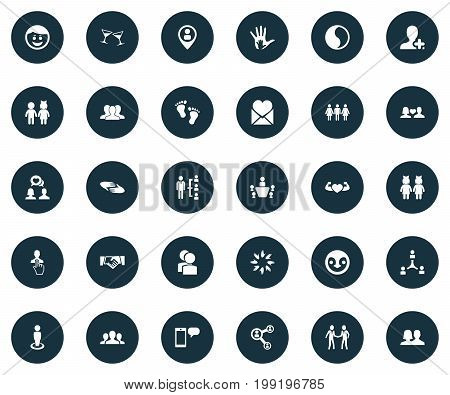 Elements Partner, Singleness, Friendship And Other Synonyms Loneliness, Network And Harmony.  Vector Illustration Set Of Simple Mates Icons.