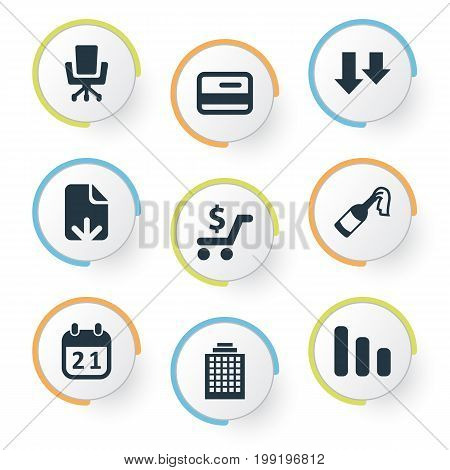 Elements Document Upload, Career, Descending And Other Synonyms Skyscraper, Plastic And Calendar.  Vector Illustration Set Of Simple Situation Icons.