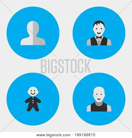 Elements Profile, Guy, Man And Other Synonyms Man, Section And Profile.  Vector Illustration Set Of Simple Person Icons.