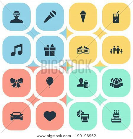 Elements Mike, Birthday Pie, Present And Other Synonyms Cake, Balloon And Bells.  Vector Illustration Set Of Simple Celebration Icons.