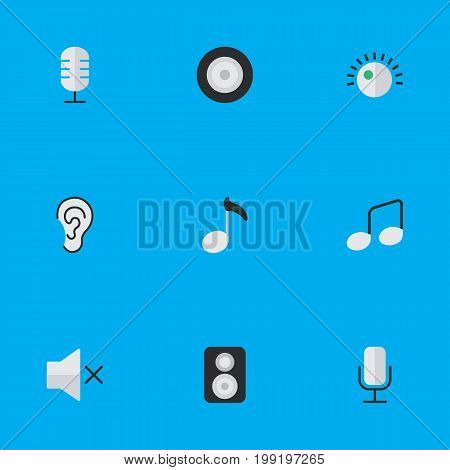 Elements Listen, Music Sign, Regulator And Other Synonyms Mic, Record And Make.  Vector Illustration Set Of Simple Melody Icons.