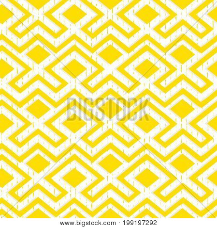 Maze tangled lines contemporary graphic. Abstract geometric background design.Yellow and white