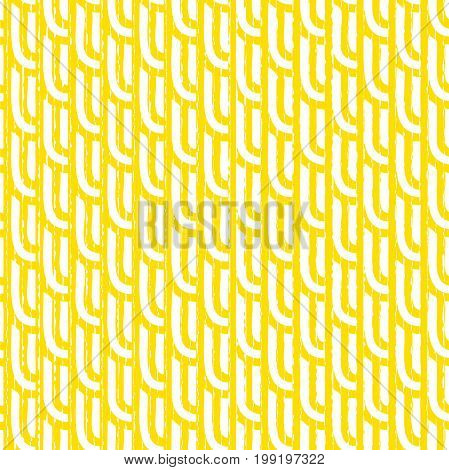 Seamless geometric pattern. Stylish vector rounded lines. Yellow and white