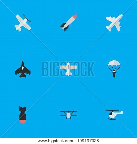 Elements Airplane, Plane, Rocket And Other Synonyms Dynamite, Vehicle And Bomb.  Vector Illustration Set Of Simple Airplane Icons.