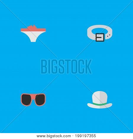 Elements Strap, Eye Accessory, Lingerie And Other Synonyms Panties, Lingerie And Hat.  Vector Illustration Set Of Simple Accessories Icons.