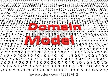 Domain model in the form of binary code, 3D illustration
