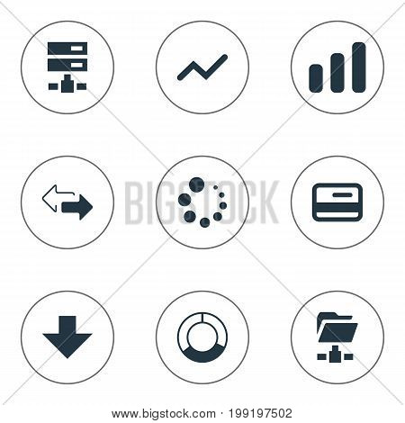 Elements Down Arrow, Loading, Double Arrow And Other Synonyms Waiting, Progress And Two.  Vector Illustration Set Of Simple Information Icons.