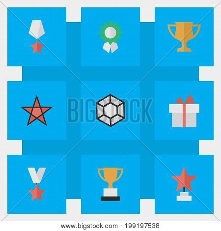 Elements Star, Premium, First And Other Synonyms First, Brilliant And Star.  Vector Illustration Set Of Simple Champion Icons.