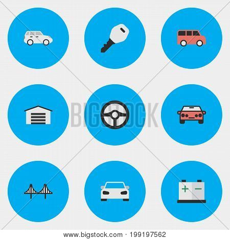 Elements Auto, Open, Shed And Other Synonyms Lock, Key And Bridgework.  Vector Illustration Set Of Simple Shipping Icons.