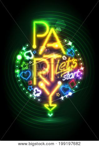 Golden neon lights party design with poker casino symbols, raster version