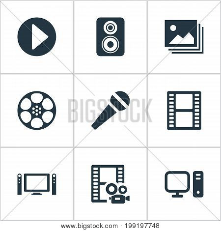 Elements PC, Image, Movie And Other Synonyms Karaoke, Home And Filmstrip.  Vector Illustration Set Of Simple  Icons.