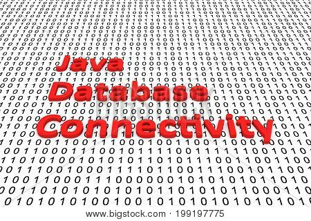 Java database connectivity in the form of binary code, 3D illustration