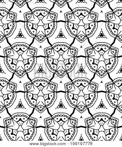 Seamless Abstract Hand Drawn Pattern. Monochrome Background. Black White Wallpaper