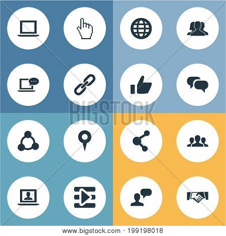 Elements Cursor, Chatting, Chat And Other Synonyms Chain, Control And Vote.  Vector Illustration Set Of Simple Internet Icons.