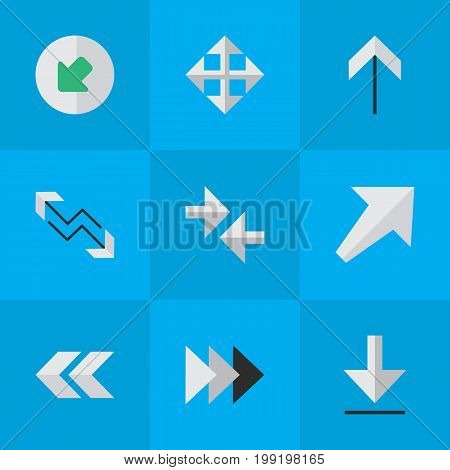 Elements Onward, Arrow, Loading And Other Synonyms Widen, Up And Northwestward.  Vector Illustration Set Of Simple Cursor Icons.