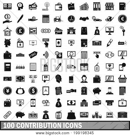 100 contribution icons set in simple style for any design vector illustration