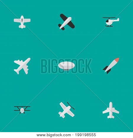 Elements Airliner, Craft, Airplane And Other Synonyms Copter, Balloons And Vehicle.  Vector Illustration Set Of Simple Airplane Icons.