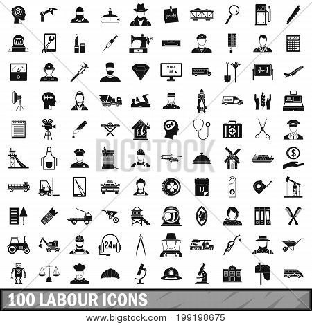 100 labour icons set in simple style for any design vector illustration