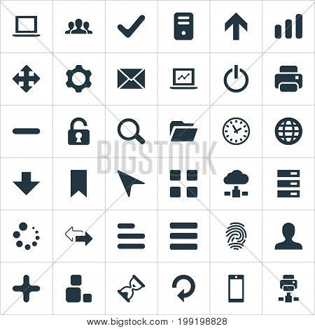 Elements Refresh, Notebook, Watch And Other Synonyms Button, Invitation And Printout.  Vector Illustration Set Of Simple Apps Icons.