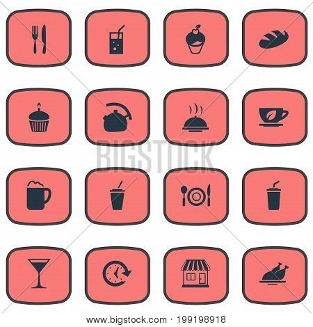 Elements Coffee, Smoothie, Dishware And Other Synonyms Setting, Cupcake And Utensil.  Vector Illustration Set Of Simple Cafe Icons.