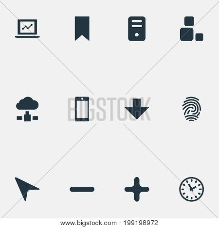 Elements Computer Case, Fingerprint, Watch And Other Synonyms Computer, Fingerprint And Plus.  Vector Illustration Set Of Simple Application Icons.