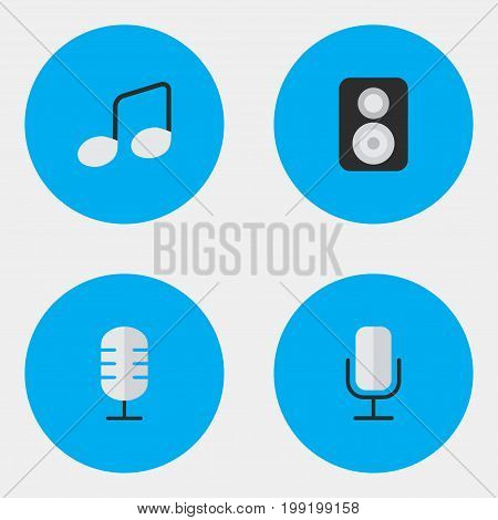 Elements Speaker, Music Sign, Microphone And Other Synonyms Music, Loudspeaker And Sign.  Vector Illustration Set Of Simple Melody Icons.