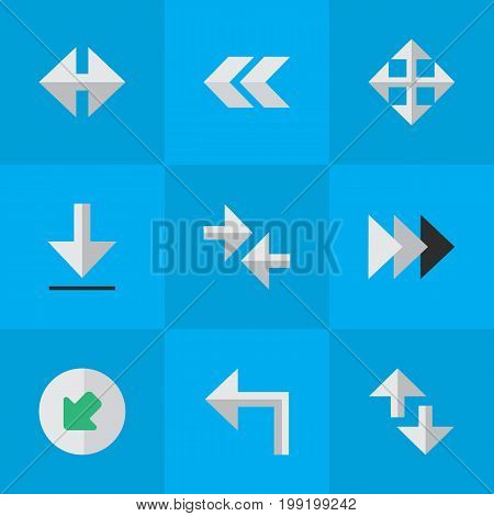 Elements Back, Export, Indicator And Other Synonyms Rearward, Enlarge And Back.  Vector Illustration Set Of Simple Indicator Icons.