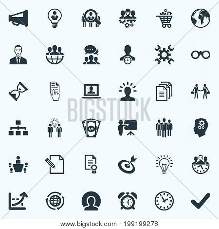 Elements Training, Director, Head And Other Synonyms Target, Scope And Gear.  Vector Illustration Set Of Simple Brainstorming Icons.