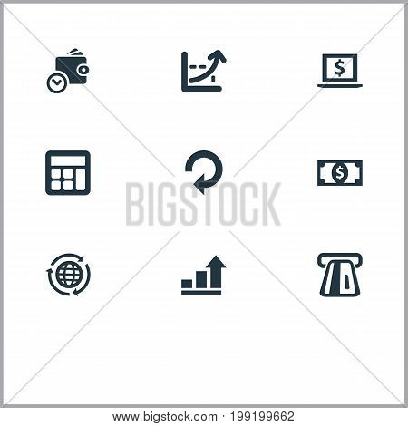 Elements Increase Graph, Accounting, Terminal And Other Synonyms Accounting, Atm And Repeat.  Vector Illustration Set Of Simple Bill Icons.