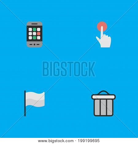 Elements Trashcan, Switch Knob, Flag And Other Synonyms Trash, Pointer And Smartphone.  Vector Illustration Set Of Simple Menu Icons.